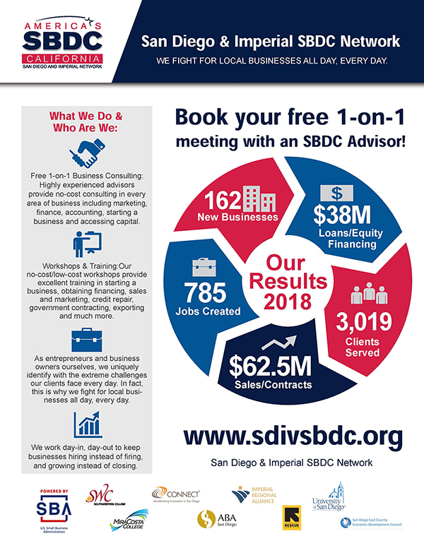 San Diego & Imperial SBDC Network Flyer